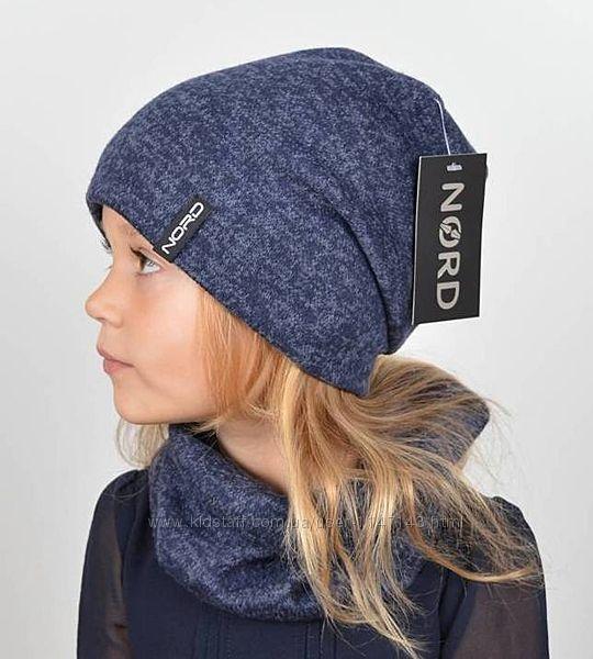 Комплект, шапка на флисовой подкладке и хомут, цвета синие, другие цвета