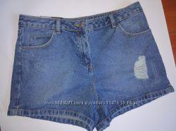 Актуальные джинсовые шорты, р-р 10, М, высокая талия, новые