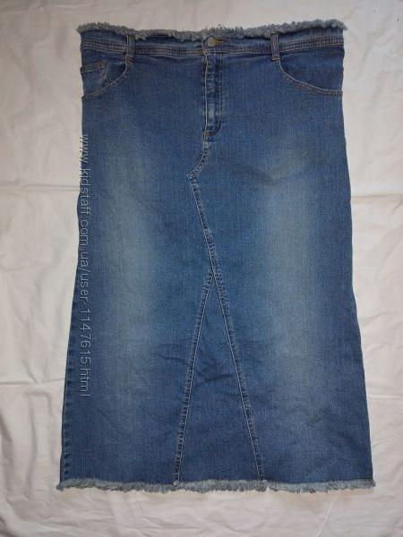 Длинная джинсовая юбка, р-р 12, на наш 46-50
