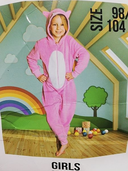 Мягкая теплая пижамка, кигуруми на девочку 3-4 года,98-104 см, сток