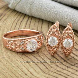 Набор кольцо 17 размер, серьги.