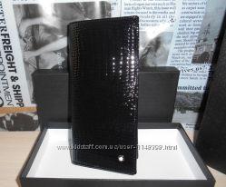 Мужской кошелек, портмоне, бумажник Mont Blanc, кожа, Италия код 23-004