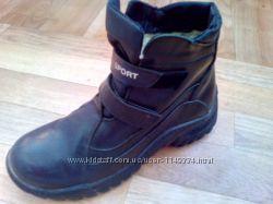 теплые зимние кожаные ботинки с натуральным мехом размер 38 в отличном сос