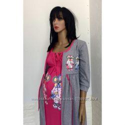 Комплект ночная рубашка и халат для кормящих мам