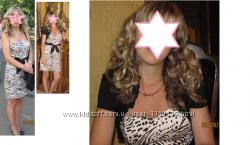 Шикарное платье без бретелек h&m. Модный принт.