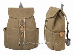 В наличии Большой холщовый рюкзак бохо этно коричневый