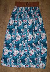 Летняя юбка макси цветочный принт peacocks 36-40р.