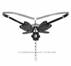 Трусики эротические Бабочка с жемчугом