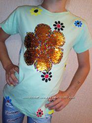 Футболка кофта с пайетками, меняют цвет 5-6 лет туника паетками