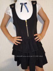 Школьный сарафан с оборками 122-134см платье школьное кофта