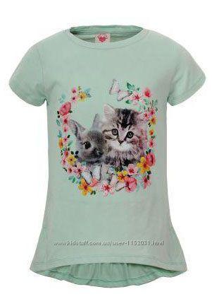 Удлиненная футболка с принтом для девочек р-ры 98-122, GLO-STORY 3923
