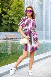 Платье рубашка в полоску размеры 42 - 56.  Nui Very Рубашка-платье женское