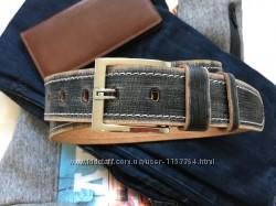 Оригинальный  серый кожаный ремень
