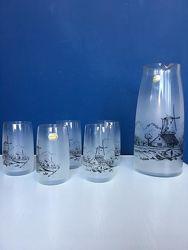 Набор из графина и пяти стаканов, чешское стекло, bohemia