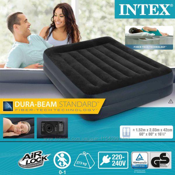 Двуспальная надувная кровать Intex 64124 размер 203 х 152 х 42 см  насос 2