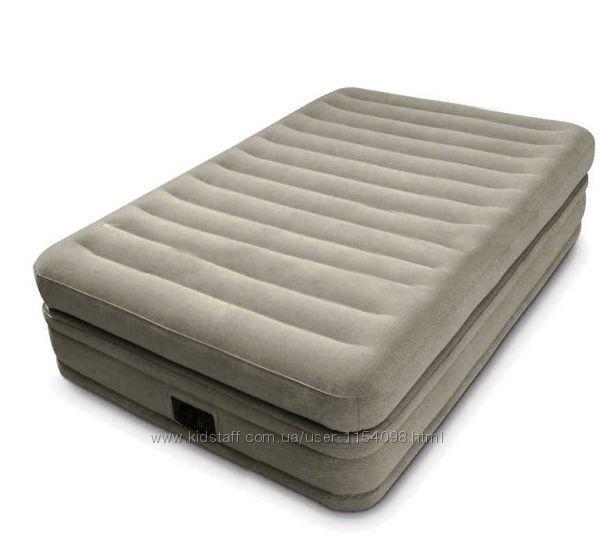Односпальная надувная кровать Intex 64444 серая 191х99х51 см с насосом 220V