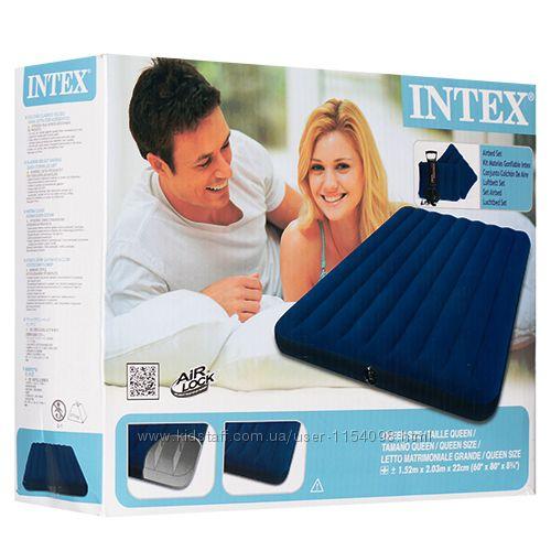 Матрас надувной Intex 68765 Двухместный с насосом и 2 подушки 152х203х22см