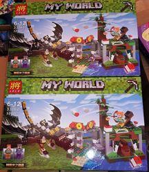 Конструктор Lele 33162 Minecraft Майнкрафт Атака дракона Края 323 детали
