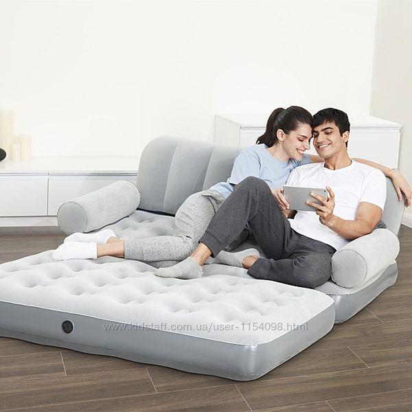 Надувной диван Bestway 75073, 188 х 152 х 64 см, с электрическим насосом