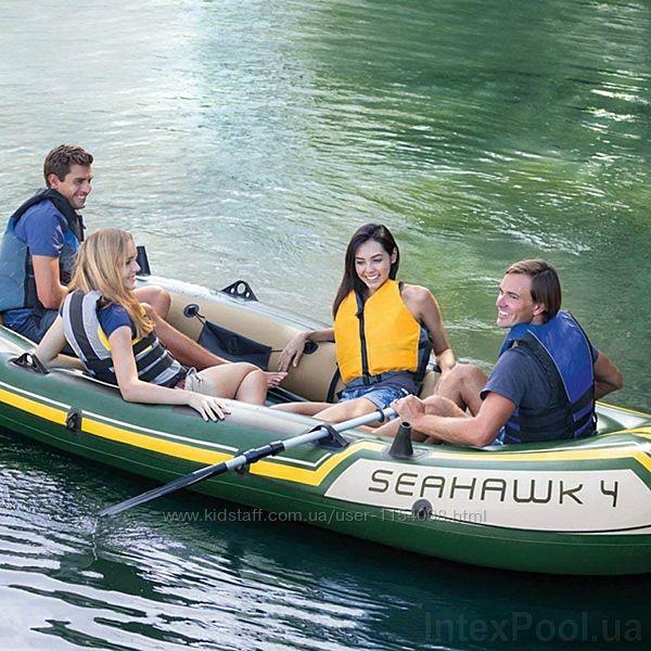 Четырехместная надувная лодка Intex 68351 Seahawk 4 Set, 351 х 145 х 48 см