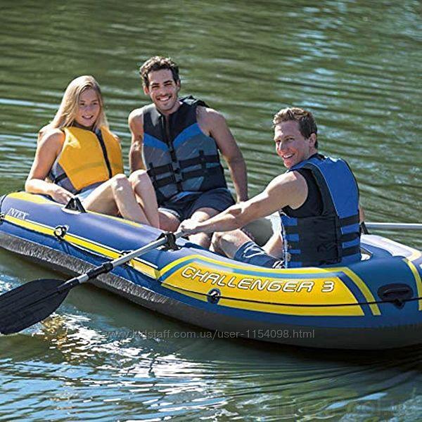 Надувная лодка Трехместная Intex 68370 Challenger 3 Set, 295 х 137 х 43 см,