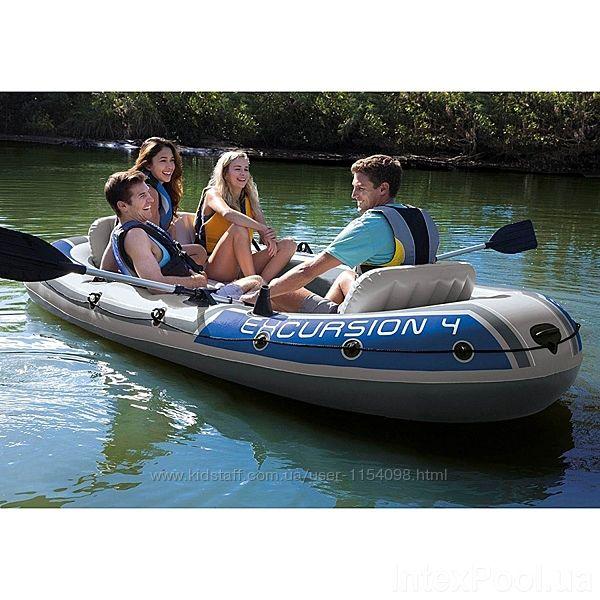 Надувная лодка Четырехместная Intex 68324 Excursion 4 Set, 315 х 165 х 43