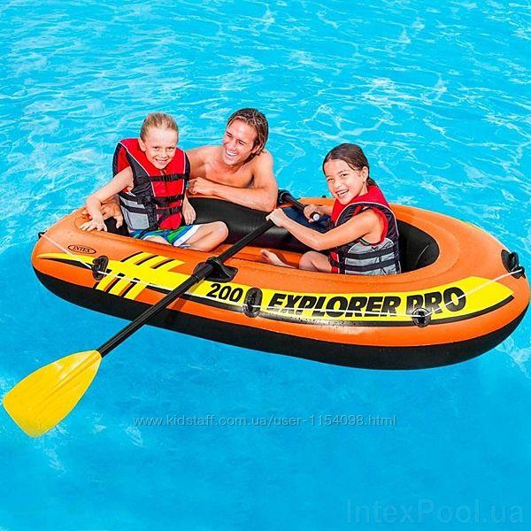 Полутораместная надувная лодка Intex 58357 Explorer Pro 200 Set, 196 х 102