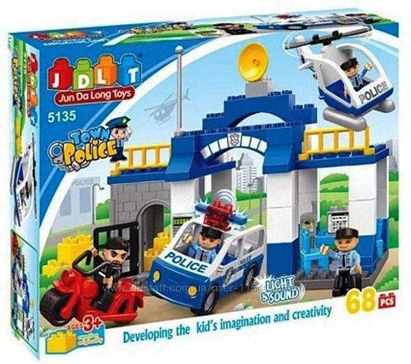 Конструктор для малышей JDLT 5135 Полицейский участок 68 деталей Свет Звук
