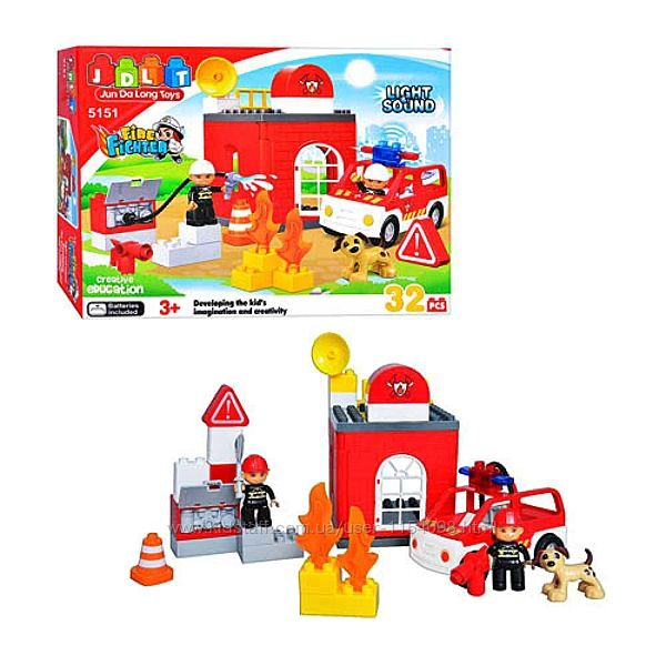 Конструктор для малышей JDLT 5151 Пожарная машина, крупные детали, 32 детал