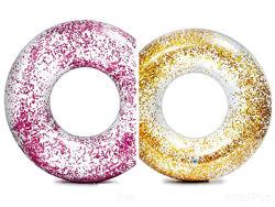 Надувной круг Intex 56274 Прозрачный блеск, 119 см, розовый и золотой
