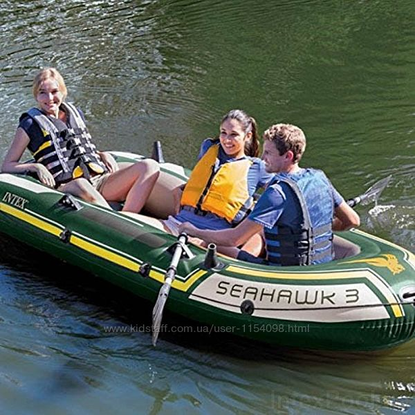 Трехместная надувная лодка Intex 68380 Seahawk 3 Setм 295 х 137 х 43 см