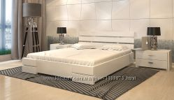 Кровать двуспальная деревянная Дали Люкс с подъемным механизмом и коробом