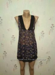 Шикарная туника блуза блузка из натурального шелка в принт от patch