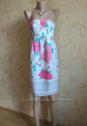 Модный легкий хлопковый невесомый летний сарафан в цветочный принт