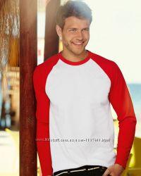 Мужская футболка с длинным рукавом комбинированная. Размеры от S до XXL