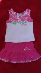 Летний комплект для девочки юбка  майка размер 80-86