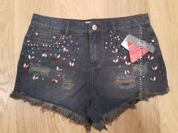 Классные, натуральные,  джинсовые шорты, со стразами, South, Англия. р. S,