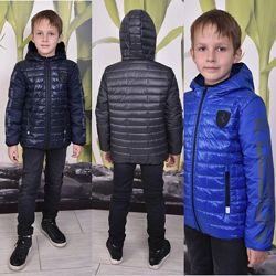 Модная теплая демисезонная куртка для мальчика 116-164 р.