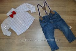 Нарядный комплект рубашка и джинсы с подтяжками Zara