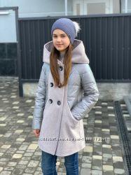 Стильное пальто, полушерсть, 140-152 см