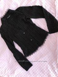 Шикарный нарядный чёрный пиджак с кружевом размер XS-S