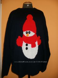 Новогодний свитер снеговик. большой