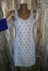 Нежно-голубая ночная рубашка комбинация Trikota
