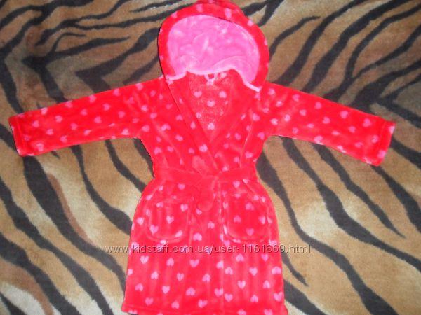 Теплый банный  халат для девочки