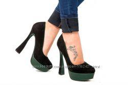 туфли черно зеленые