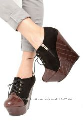 ботинки танкетка черно коричневые