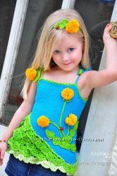 Топ для девочки вязаный спицами Одуванчики