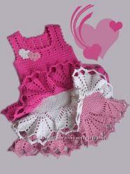 Платьице ажурное вязаное крючком для девочки