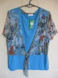 Блузка летняя с имитацией болеро, L, натуральная ткань.