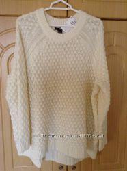 Новый теплый свитер H&M размер Л-ХЛ белый и пудровый